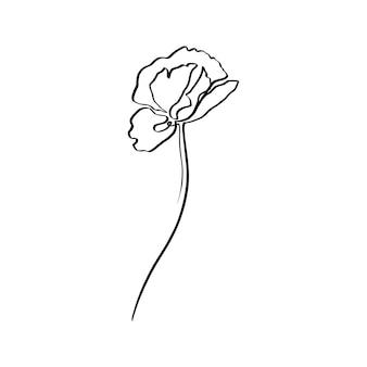 양귀비 꽃은 하나의 라인 아트입니다. 트렌디한 미니멀리스트 스타일의 벡터 추상 컨투어 드로잉 꽃. 로고, 초대장, 포스터, 엽서, 티셔츠의 인쇄 디자인용.