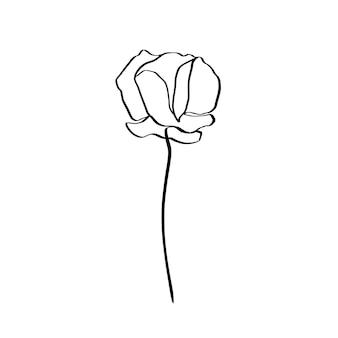 양귀비 꽃은 하나의 라인 아트입니다. 트렌디한 미니멀리스트 스타일의 벡터 추상 식물입니다. 로고, 초대장, 포스터, 엽서, 티셔츠의 인쇄 디자인용.
