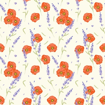Poppy flower and lavender seamless pattern.