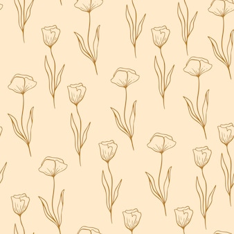 선 스타일의 양귀비 꽃 패턴입니다. 꽃 원활한 손으로 그린 장식입니다. 꽃과 현대 낙서 반복 패턴입니다. 양 귀 비 귀여운 벽지, 분홍색 배경에 벡터 일러스트 레이 션.