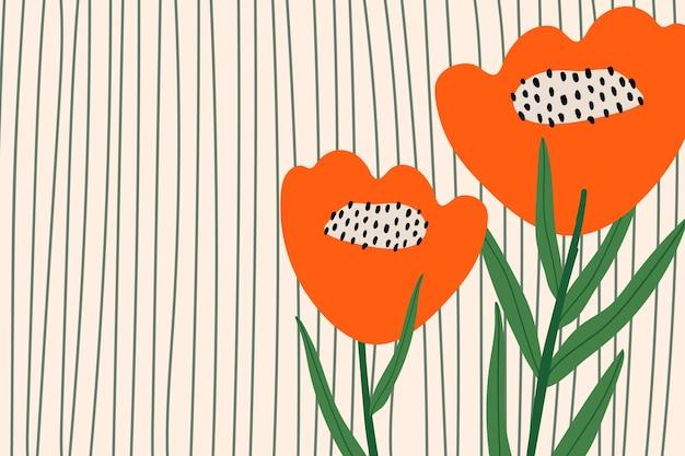 Poppy flower patterned vector background