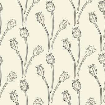 ケシの花のシームレスなパターン。ポピーの壁紙イラスト