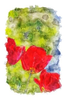 양귀비 꽃 수채화 포스터