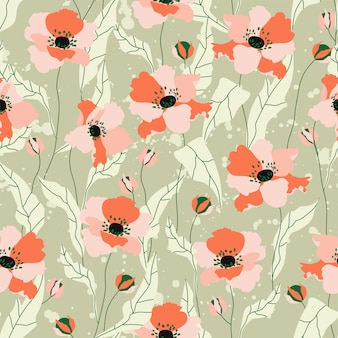 Poppy flowers seamless pattern. beautiful soft orange hand-drawn poppy flowers on a green background. repeatable  for stationery, textile, web banner. trendy field flower pattern.