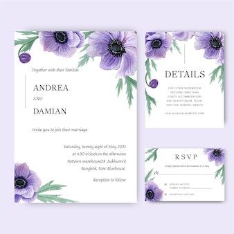 Poppy flowers watercolor bouquets invitation card, save the date, wedding invitation cards