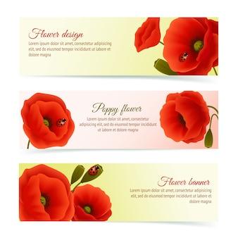 Poppy horizontal banner set