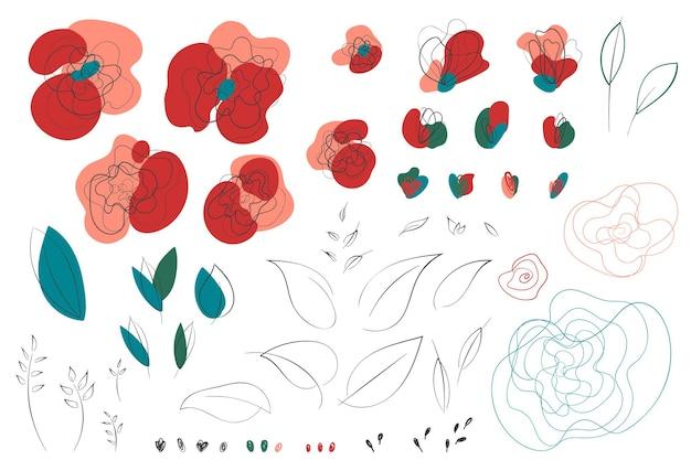 양귀비 라인 아트 추상 꽃 요소. 우아한 손으로 그린 꽃과 잎