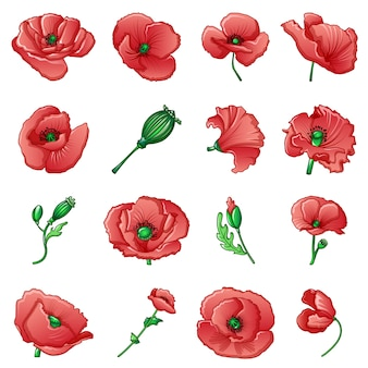 Poppy remembrance day icons set