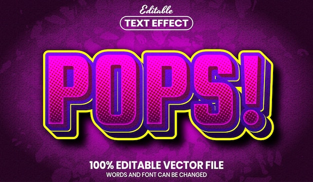 Pops text, font style editable text effect