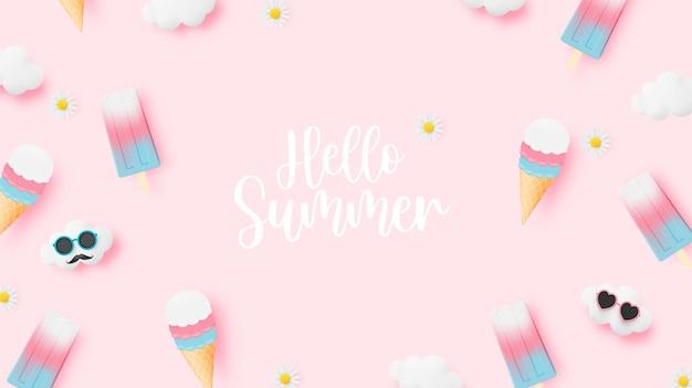 여름철 아이스 캔디와 아이스크림