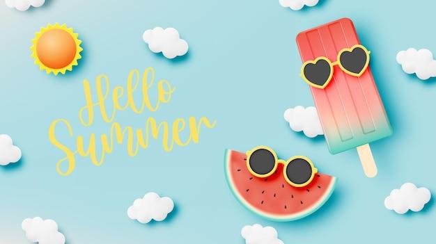 여름철 아이스 캔디와 아이스크림 프리미엄 벡터