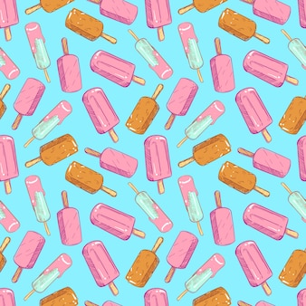 Popsicle seamless pattern - hand drawn ice cream seamless texture