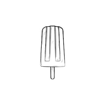 アイスキャンデーベクトル手描きのアウトライン落書きアイコン。白い背景で隔離の印刷、ウェブ、モバイル、インフォグラフィックのスティックベクトルスケッチイラストのアイスキャンディーのアイスクリーム。