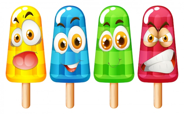 Popsicle with facial expression