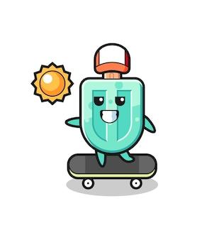 アイスキャンデーのキャラクターイラストがスケートボードに乗る、かわいいデザイン
