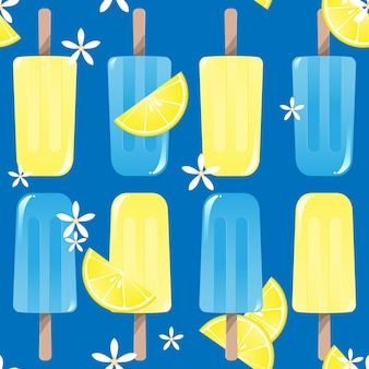 Popsicles ice-cream seamless background pattern with lemon and flower for summer print.