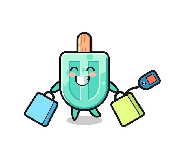 Popsicles mascot cartoon holding a shopping bag , cute design