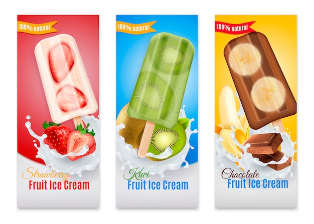 Popsicles realistic banners with advertising of strawberry kiwi and chocolate fruit ice cream isolated illustration