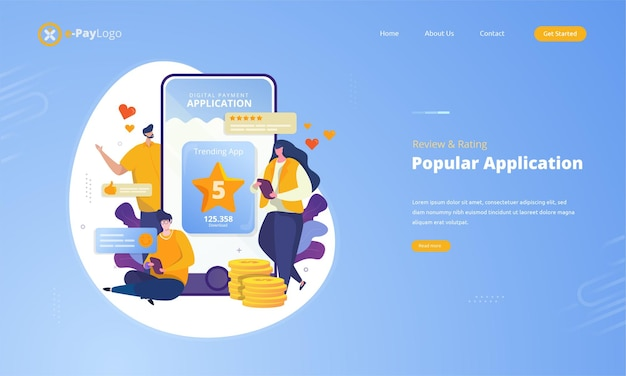 Popular application with customer review and rating on illustration concept