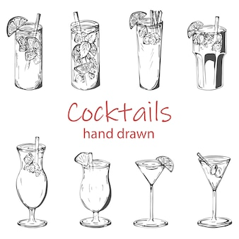 Popular cocktail drinks vector set, hand drawn sketch set.