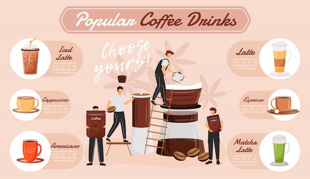 Популярные кофейные напитки инфографики
