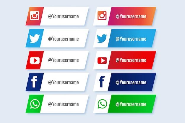Популярная коллекция социальных медиа нижней трети