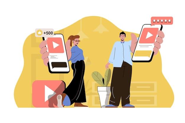 인기 콘텐츠 개념 블로거는 인기 동영상이 있는 스마트폰을 들고 있습니다.