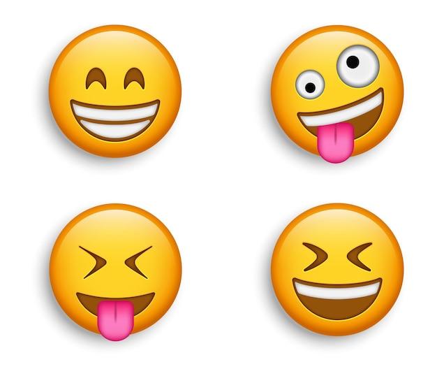 인기 이모티콘-웃는 눈을 가진 빛나는 이모티콘과 혀를 내민 미친 구피 얼굴, 웃고있는 이모티콘