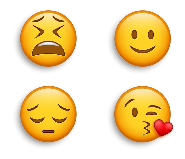 인기 이모티콘-약간 웃는 얼굴과 미친 듯이 피곤한 이모티콘, 키스를 날리는 얼굴이있는 슬픈 잠겨있는 이모티콘