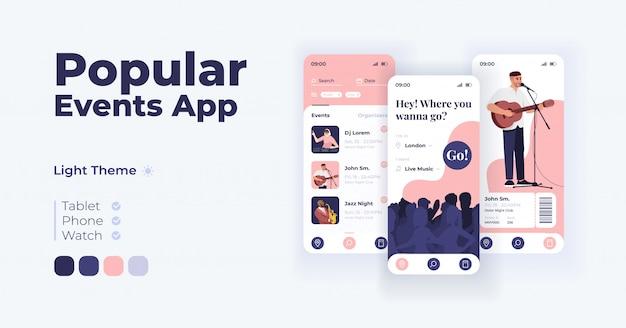 人気のイベントアプリ漫画のスマートフォンインターフェイステンプレートセット。モバイルアプリの画面ページの日モードのデザイン。アプリケーションのレクリエーションプランナーシステムui。フラットな文字の電話ディスプレイ。