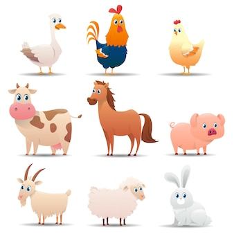 Popular farm animals set on a white background