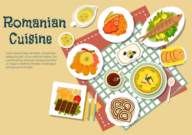 Popular festive dishes of romanian cuisine flat icon with grilled ground meat and fish