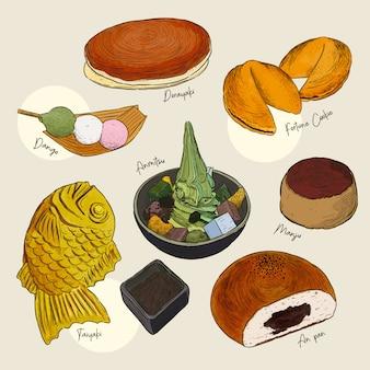 Популярный вид сладостей японский набор.