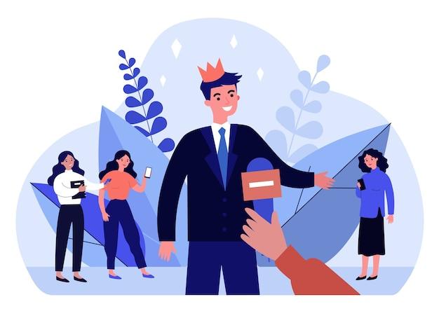 面接をする王冠の人気のある男。