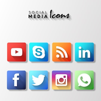 Popular rounded social media icons set
