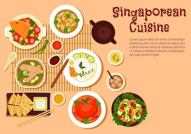 Popular singaporean seafood dishes flat with chilli crab and nasi lemak rice, flatbread roti prata served with tartar sauce, fish head and mussel curries, pork rib soup and shrimp salad