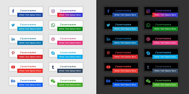 Popular social media banners in light and dark theme