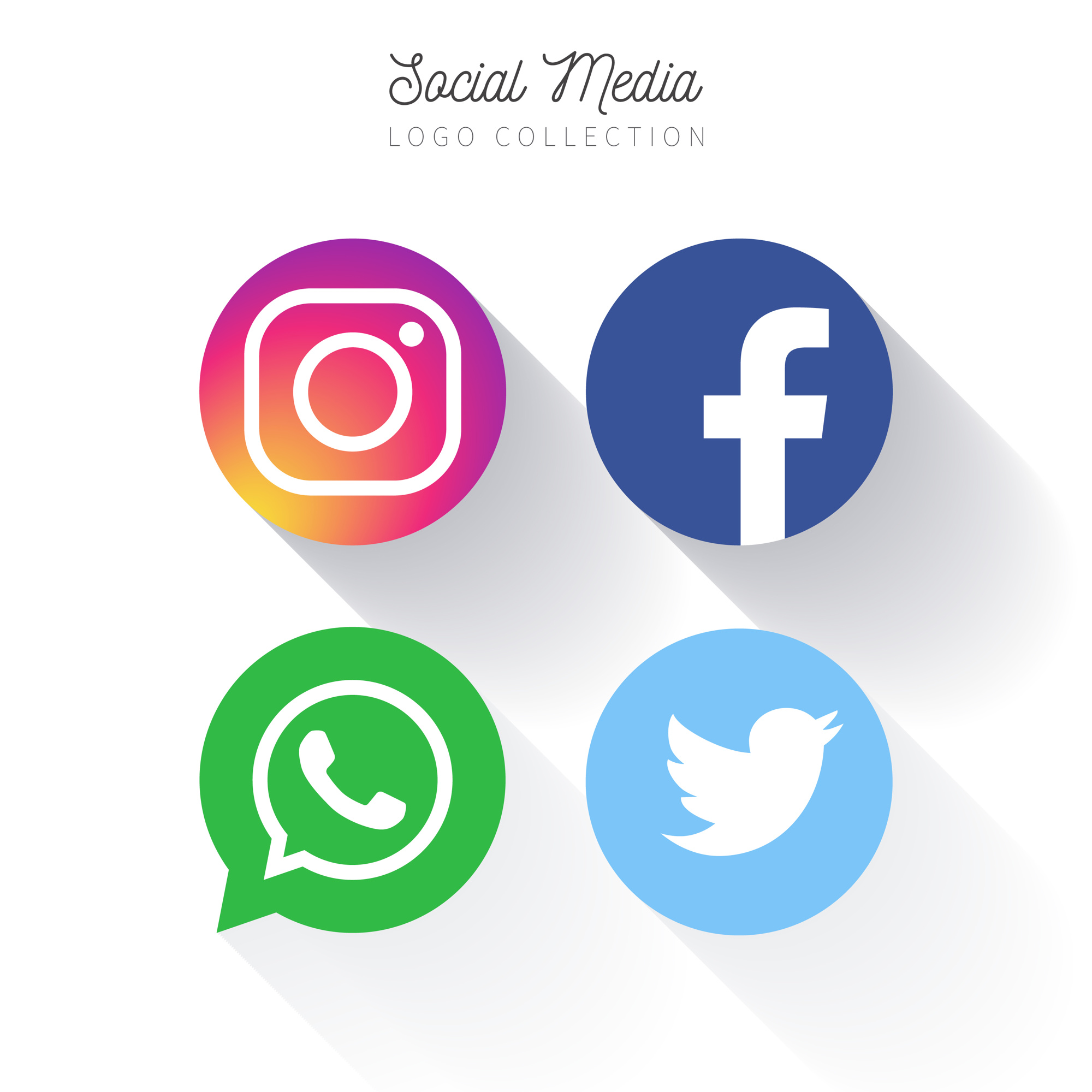 Popular Social Media circular logo collection