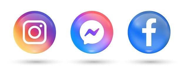 Popular social media icons in 3d buttons facebook instagram messenger logos in modern circle