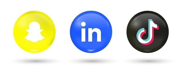 Popular social media icons in 3d buttons linkedin snapchat tiktok logos in modern circle