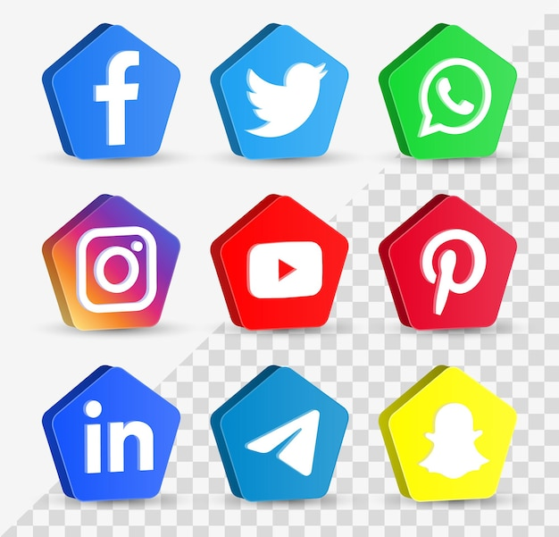 Popular social media icons in 3d buttons or network platforms logos facebook instagram yourube