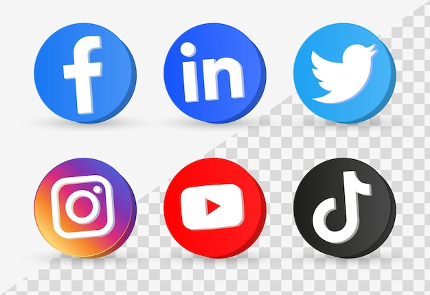 Popular social media icons in 3d buttons or network platforms logos Premium Vector