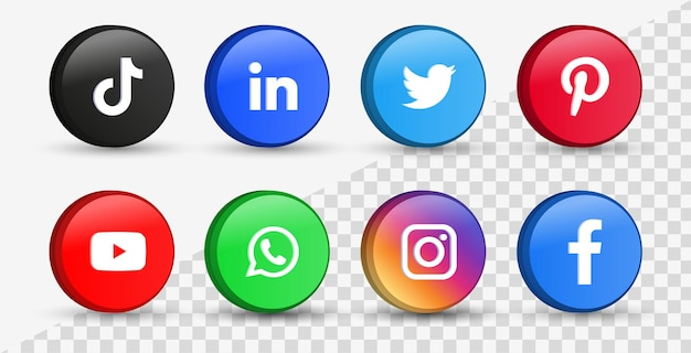 Popular social media icons in 3d buttons or network platforms logos