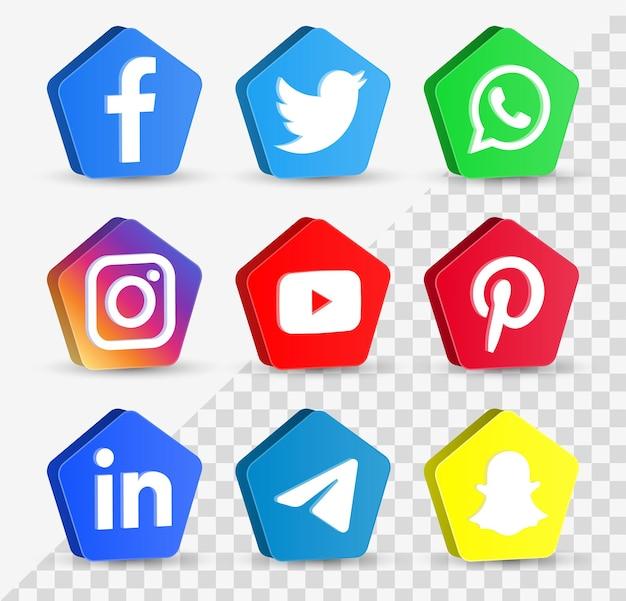 3d 버튼 또는 네트워크 플랫폼 로고의 인기 있는 소셜 미디어 아이콘 facebook instagram yourube