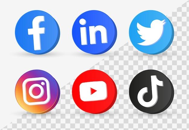 Популярные значки социальных сетей в трехмерных кнопках или логотипах сетевых платформ