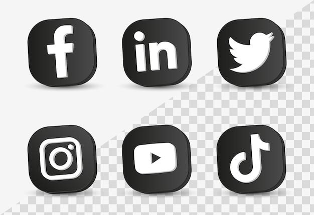 3d 블랙 프레임 또는 네트워킹 플랫폼 버튼의 인기 있는 소셜 미디어 아이콘 로고