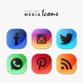 Popular social media icons set in 3d