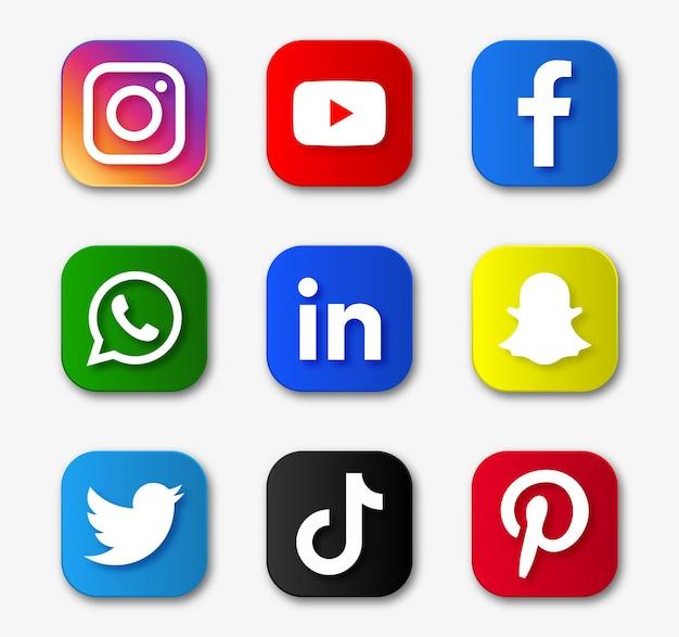 Популярные значки социальных сетей
