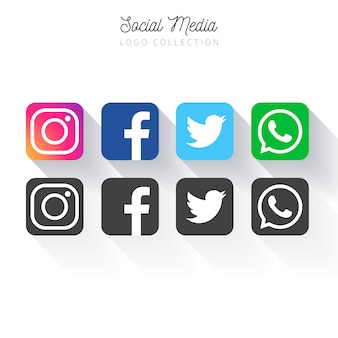 Popular social media logo collection Free Vector