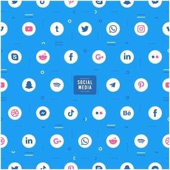 인기있는 소셜 미디어 로고 패턴 디자인